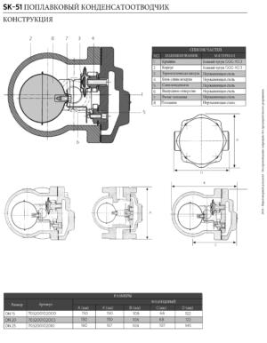 Конструкция конденсатоотводчика механического поплавкового SK-51 со встроенным воздушником