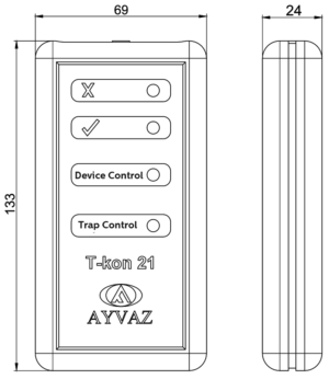 Портативный контроллер для конденсатоотводчика T-KON 21 размеры