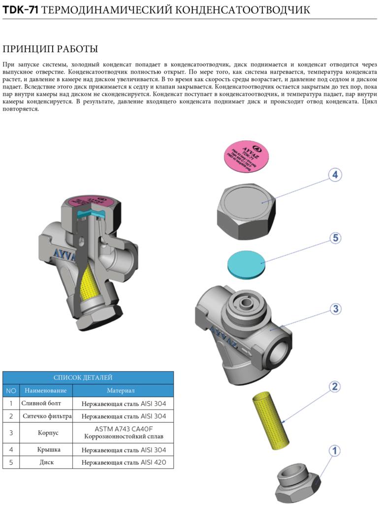 Конденсатоотводчик термодинамический TDK-71 - схема